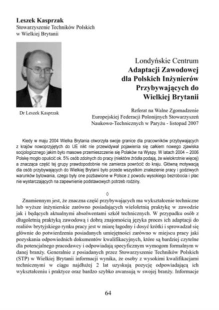 Referat dr Leszka Kasprzaka na temat Centrum Adaptacji Zawodowej dla polskich inżynierów.