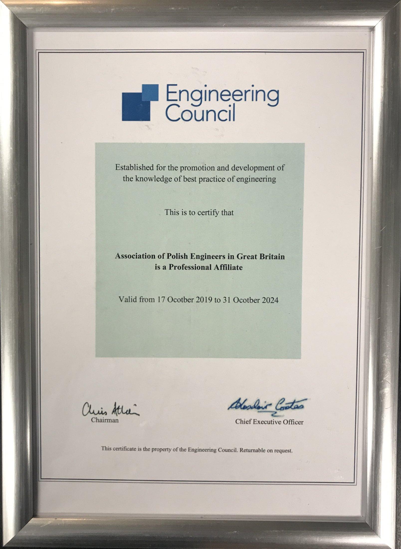 EngCouncil Certificate