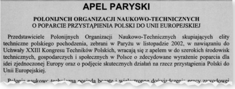 """Apel Paryski – zamieszczony w numerze 71 """"Techniki i Nauki"""""""